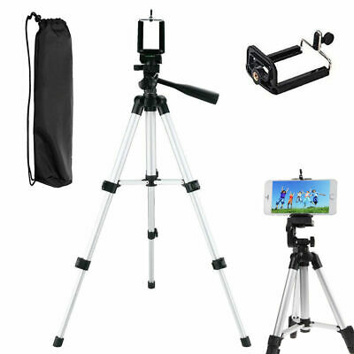 Portable Adjustable Aluminum Camera Tripods Stand+Universal Phone Holder Mount