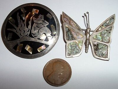 Vintage Sterling Abalone Taxco 2 Brooch Lot Man In Hat Sitting & Butterfly