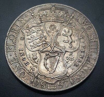 Silver 1897 Great Britain Florin | Lustrous