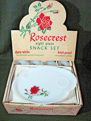 Federal Glass Dura-White Rosecrest 8 pc Snack Plate Set-4 Plates and 4 Cups