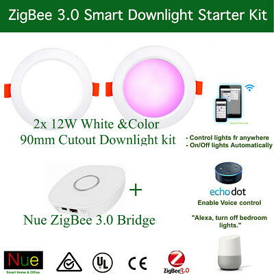 Smart Home Starter 2xZigBee LED Downlight +1HubFor Amazon echo Alexa Google Home