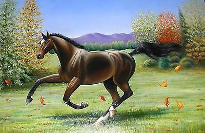 "ORIGINAL HORSE PAINTING ART by LINDA STOREY-LONDON ARTIST.& EQUESTRIAN 36""x24"""