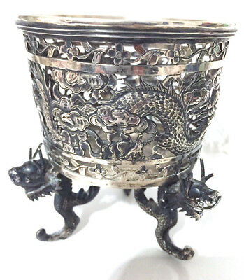 Silver bowl with dragon decor,  China export solid silver On three dragon feet