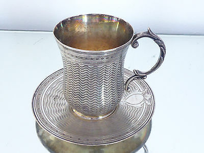 Ottoman Cup with saucer Solid silver Tugra Tremulierstrich, 250 gr