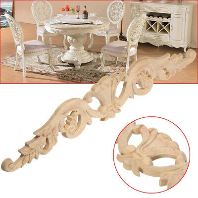 30X5.5cm Wood Carved Decal Onlay Applique Unpainted Flower Door Furniture Decor