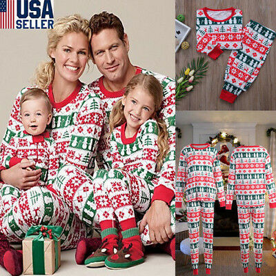 Family Matching Christmas Pajamas Set Men's Women Kids Deer Sleepwear Nightwear