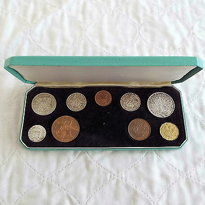 George Vi 9 Coin Uncirculated Type Set With Silver - Boxed