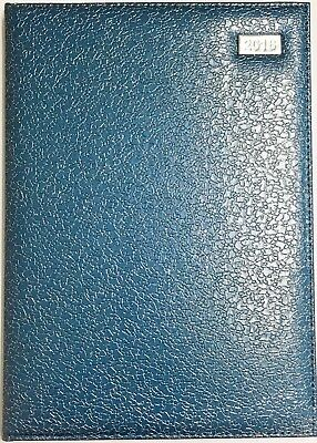 2018 A4 Carnegie Diary Day to A Page - Embossed Blue