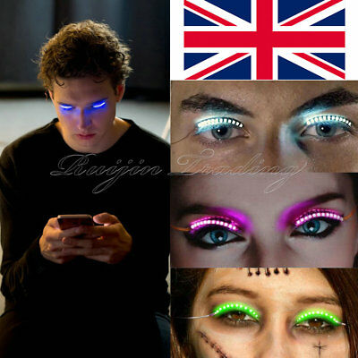 UK LED Luminous Eyelash Light Up Fashion False Eye Lash Party Icon Club Bar Xmas