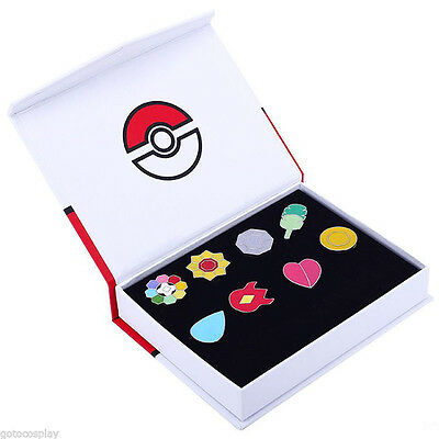 Cosplay POKEMON Gym Badges in box Indigo League Set 8pcs Kanto Badge Pin