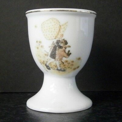 Collectable Vintage Holly Hobbie & Cat White China Egg Cup