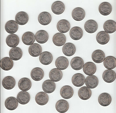 Lot of 40 Coins: 1967 MEXICO 50 Centavos Brilliant Uncirculated Coins KM 451