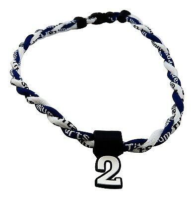 (Navy White) - Pick Your Number - Twisted Titanium Sports Tornado Necklace