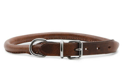 Ancol Heritage Leather Dog Puppy Collar Round Rolled Chestnut Brown Leather