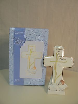 Precious Moments Boy Baptism Cross with Stand Personalization on Back Wall Hngr