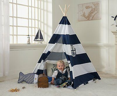 DalosDream Navy Striped Canvas Teepee Tent For Kids Indian Playhouse With Window