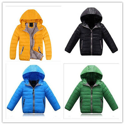 Winter-Kids Boys-Girls Duck Down-Snowsuit Hooded Warm Quilted Puffer Coat Jacket