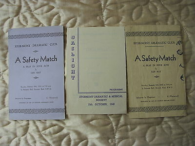 Stormont Dramatic Club London x 3 programmes 1932 - 1949