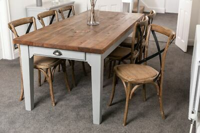 Large Reclaimed Rustic Pine Table With Distressed Painted Shabby Chic Base 10Ft