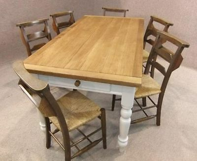 6Ft Oak And Pine Country Farmhouse Table With A Drawer And A Painted Base