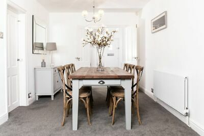 4Ft Reclaimed Pine Kitchen Dining Table With A Painted Base Burford