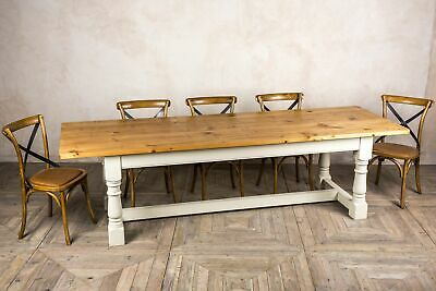 7Ft Reclaimed Pine Country Farmhouse Kitchen Table With Painted Base Banbury