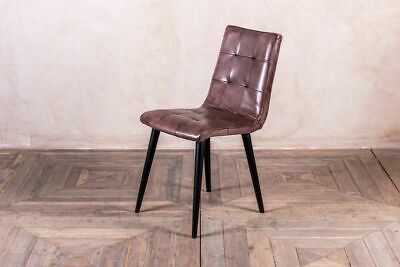 Leather Dining Chair In Tan, Yellow, Clay Or Blue