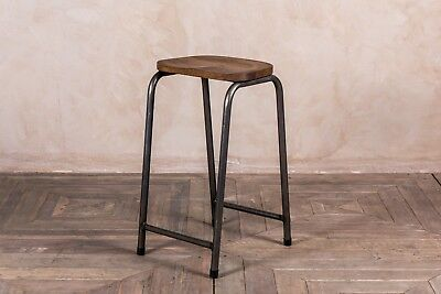Vintage Style Lab Stool Stacking Industrial Look Bar Stools With Solid Oak Seat