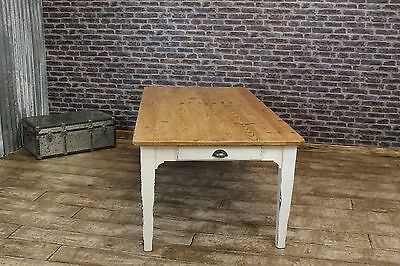 5Ft Reclaimed Pine Dining Table With Distressed Shabby Chic Painted Base