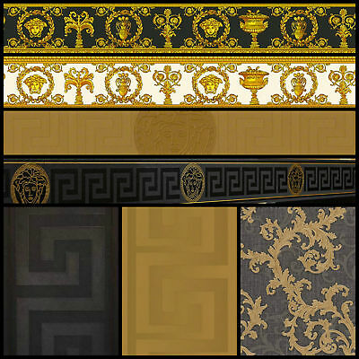 Versace Designer Wallpaper Black & Gold Official Greek Key Luxury Satin Modern