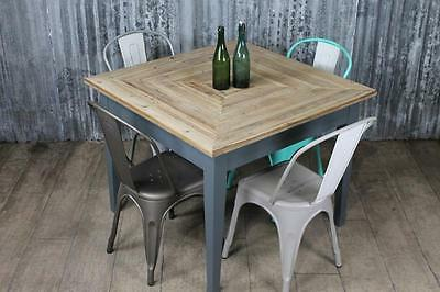 90Cm X 90Cm Square Cafe Table With Reclaimed Pine Top Painted Base Rustic Style