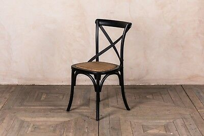 Black Painted Oak Bentwood Chair With Metal Cross Back Shabby Chic Style