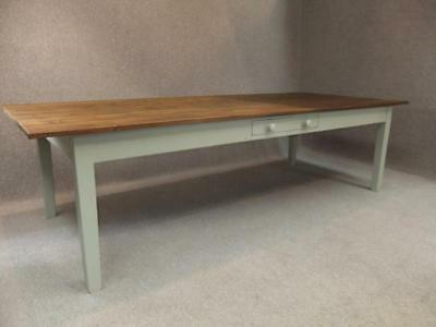 Large French Farmhouse Table With Painted Base & Drawer