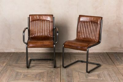 Industrial Look Dining Chair Vintage Style Tan Leather Dining Chair