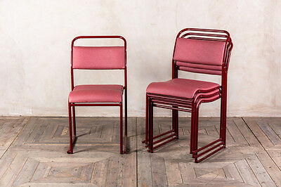 Red Padded Stacking Chairs Retro Bright Upholstered Vintage Stacking Chairs
