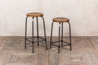Breakfast Bar Stool Lab Stool Vintage Style Oak Top Stool Metal And Oak Stool