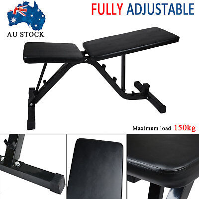 Adjustable Weight FID Bench Flat Incline Decline Home Gym Exercise Fitness Situp