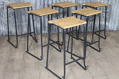 Vintage Style Stacking Stools Lab Stools With Timber Seat
