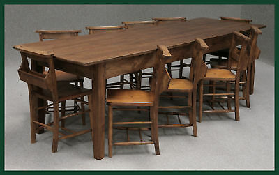 LARGE FRENCH FARMHOUSE PINE KITCHEN TABLE 290CM BY 99cm