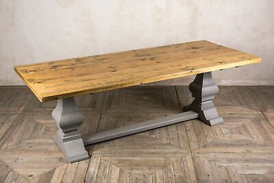 180Cm Reclaimed Pine Table With Painted Farrow & Ball Pedestal Base The Abbey