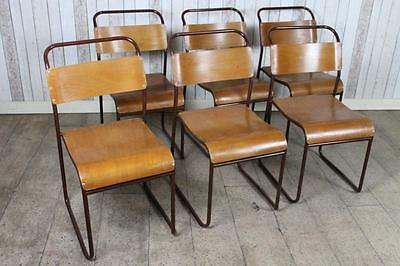 Industrial School Stacking Chairs With Brown Frames Large Quantity Available