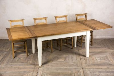 Extending Oak Country Farmhouse Kitchen Table Dining Table With Painted Base 5Ft