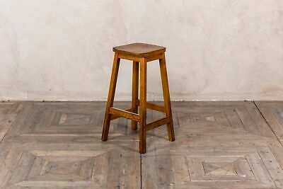 Solid Oak Breakfast Bar Stool Mid-Height Bar Stools Vintage Style Lab Stool