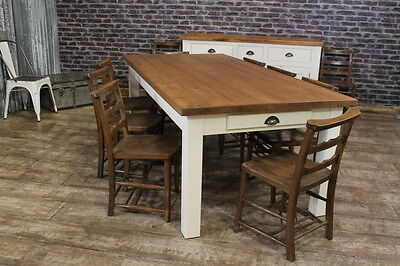 250Cm Rustic Pine Country Farmhouse Table With A Painted Base The Charlbury