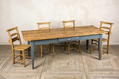 Large Handmade 10Ft Pine French Farmhouse Table With A Painted Base The Provence