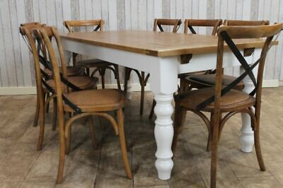 8Ft Extending Farmhouse Kitchen Table Wooden Dining Table Oak And Pine Table