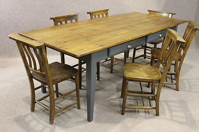 Handmade 7Ft 2M Rustic Pine French Farmhouse Table Painted Kitchen Dining Table