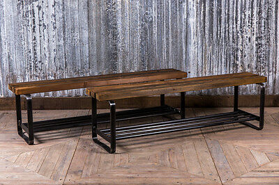 Vintage Style Bench With Shoe Storage Industrial Look Dining Bench