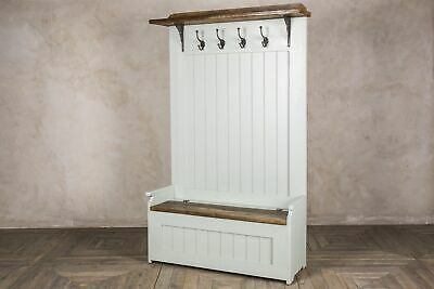 """3Ft 6"""" 105Cm Handmade Rustic Pine Settle Bench Coat Stand Painted Farrow & Ball"""