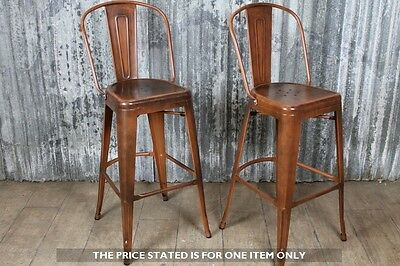 Tall Stool With Back In A Copper Finish Metal Tolix Style Bar Stool